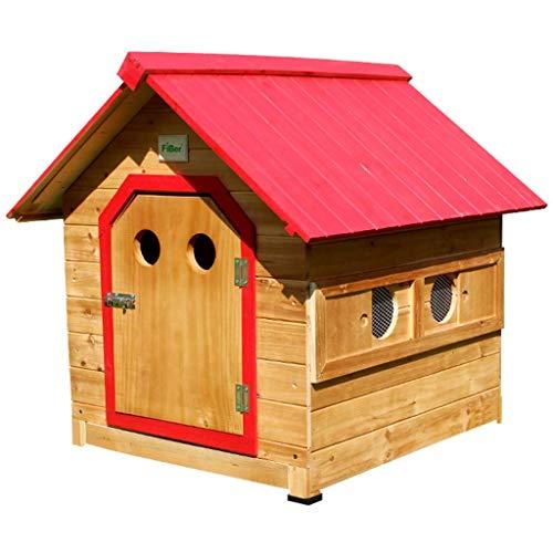 DGHJK Zwinger im Freien Hundehaus aus Holz Haustier Katze Kaninchenhaus Ziehen Sie die Bodenplatte rot Oben Doppelfenster Haustierbett (Farbe: Rot, Größe: S)