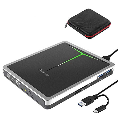 External CD DVD Drive Guamar 5 in 1 USB 3.0 USB C CD DVD Drive CD Player Burner Writer Optical Drive Compatible with Laptop/MacBook/Windows/PC Supports SD Card/TF Card/2 USB 3.0 Transfers (Silver)