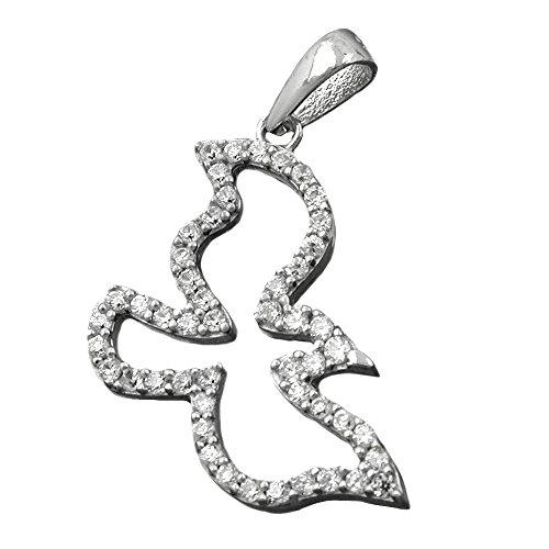 Kettenanhänger Anhänger silber VOGEL stilisiert Zirkonias rhodiniert Silber 925