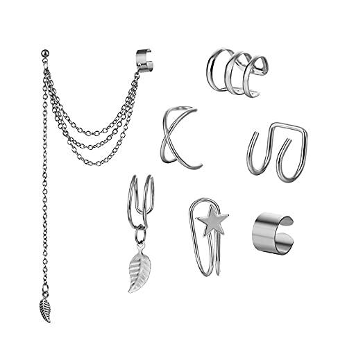 WANGSHI Metallische Blatt Llysu Ohrringe Ohr Clip Ohrstecker Ohrringe Set Mädchen Tragen Ohrring Ohrringe 7-teiliges Set Silber