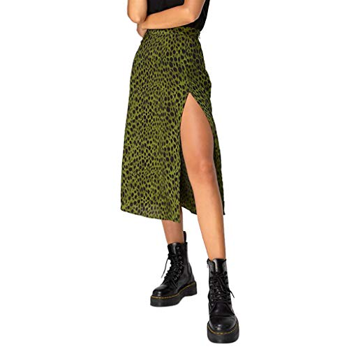 Sylar Faldas Mujer Midi Falda Larga Estampada Leopardo/a Lunares Vintage De Años para Mujeres Faldas Largas...