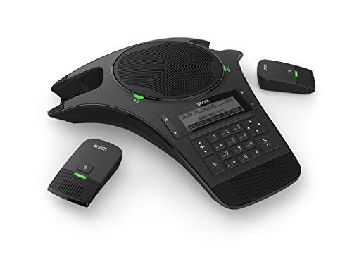 Snom C520 Konferenztelefon (DECT, Bluetooth, drahtloses Mikrofon, erweiterbar, für große Konferenzen mit bis zu 4 separaten Räumen), Schwarz, 00004356