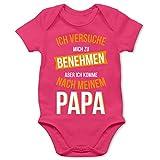 Shirtracer Sprüche Baby - Ich versuche Mich zu benehmen Papa orange - 1/3 Monate - Fuchsia - Baby Strampler Papa - BZ10 - Baby Body Kurzarm für Jungen und Mädchen
