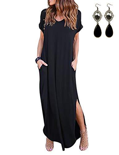 UUAISSO Robe Longue Femme Maxi Robe de Plage Cocktail Robes Manche Courte été, Noir M