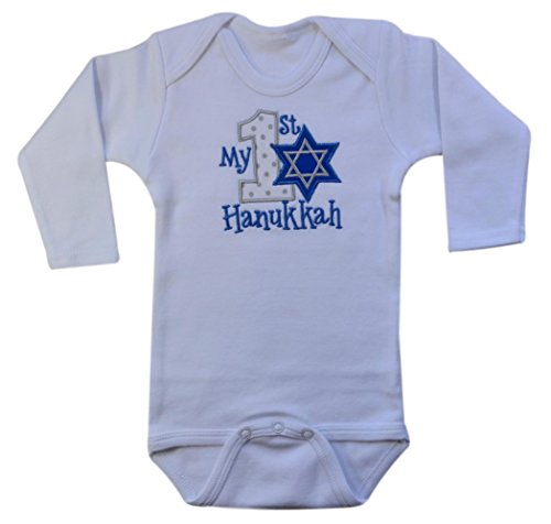 Funny Girl Designs My First Hanukkah Jewish Holiday Handmade Embroidered Onesie Bodysuit for Baby (0-3 Months, Long Sleeve - White Onesie)