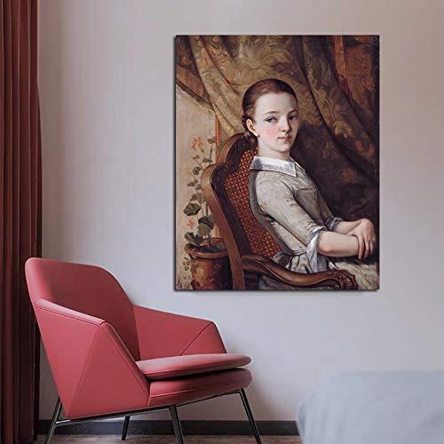 Wandkunst Porträt Leinwand Poster Wohnzimmer Hauptdekoration Kunst modernes Wandbild,Rahmenlose Malerei,50x60cm