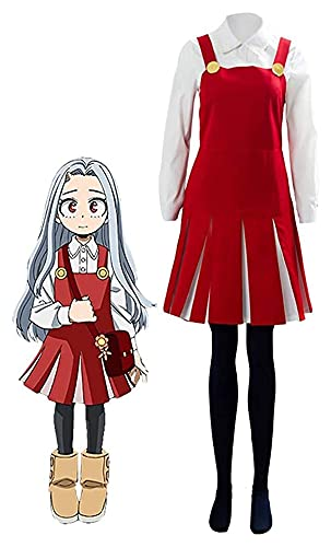 Cosplay Vêtements ERI Cosplay Outfit Costume Costume Halloween Uniforme Pinafore Dress Shirt Set pour Femmes filles, My Hero Academia Erible Cosplay Cosplay Robe rouge Chemise Blanche Bas Black Bas Ha