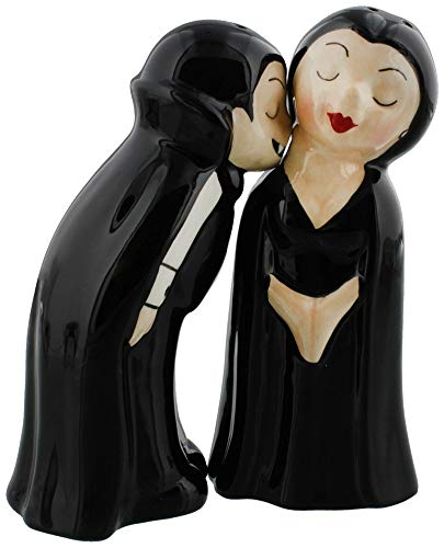 Vampire Bite Kissing Ceramic Salt and Pepper Shakers Set