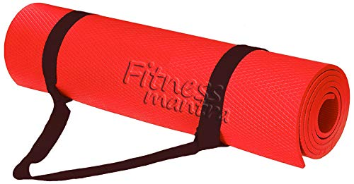 Fitness Mantra® 6MM Anti Skid, Light Weight, Extra Large Made by EVA Quality Yoga Mat with Shoulder Strap (Red)
