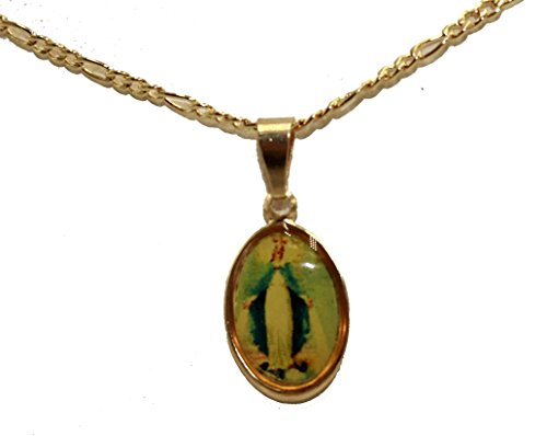 Medalla Milagrosa de la Virgen de Florida - Medalla de Nuestra Señora de los Miracles chapada en Oro de 18 Quilates con Cadena de 45 cm