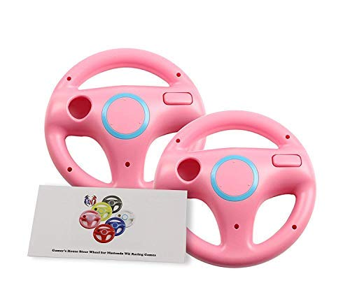 GH 2 Pack Mario Cart 8 Wheel for Nintendo Wii, Racing Wheel for Wii (U) Remote Plus Controller - Peach Pink (6 Colors Available)