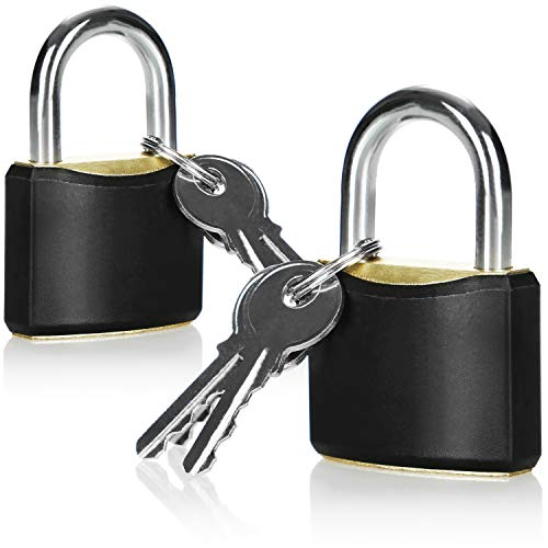 com-four® 2X Vorhängeschloss aus massivem Metall - Sicherheitsschloss mit DREI Schlüsseln - Vorhangschloss mit gehärtetem Bügel
