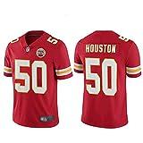 50# Houston Chiefs Rugby Jersey T-Shirts for Man, Unisex Training Shirt Mesh Quick-Drying Short-Sleeved Professional Fan Fitness Polyester Fiber Sweatshirt (S-XXXL)-Red-XXXL