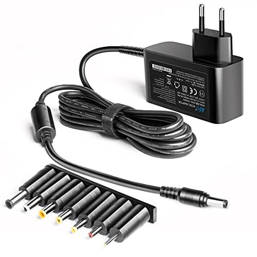 KFD - Cargador universal de 12 V, conectores: 2,5 x 0,7 mm/3,5 x 1,35 mm/4,0 x 1,7 mm/4,8 x 1,7 mm/5,5 x 1,7 mm/5,5 x 2,5 mm/LED conectores para pantallas LCD, televisores, DVD TV