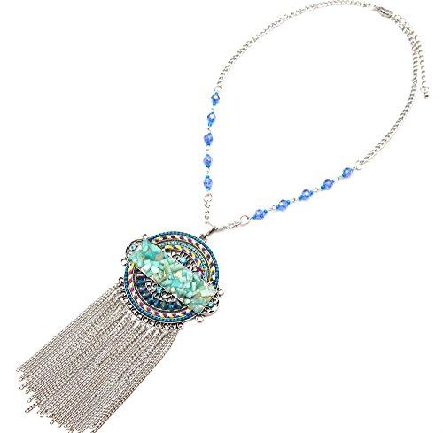 CC1318EC-Collar con colgante para mujer de perlas brillantes diseño étnico hilos, diseño de círculos, color turquesa y cadenas pendientes, metal, color plateado con diseño de moda