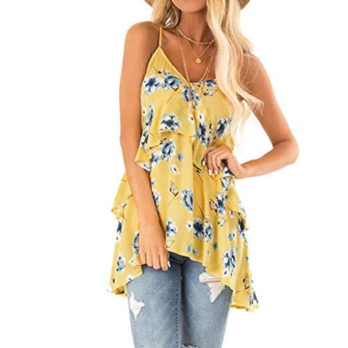 Sommer-Top für Frauen 2019 Tronet Damen Flowy V-Ausschnitt Sexy ärmellos rückenfrei Tank Tops Camisole Shirts, gelb, Medium