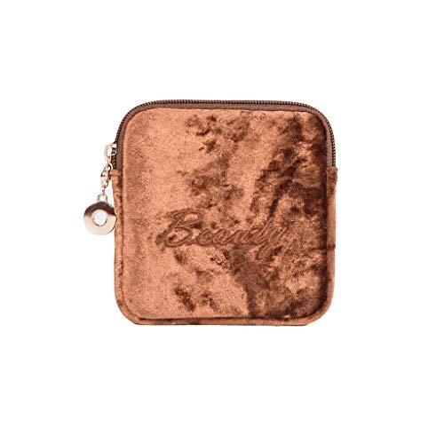 ZAZA Mini-Kosmetik-Taschen für Frauen Samt Reise Make-up-Taschen für Geldbörse Multifunktionsbeutel Case Aufbewahrungsbeutel für Mädchen-tolles Geschenk / 7 Farben (Color : Brown)