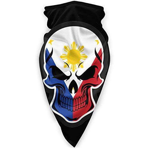 Filipino Flag Skull Unisex Adult Neck Windproof Mask Dust Sports Face Mask Half Balaclava Ski Mask Cold Weather Bandana Women Men Outdoors Festivals