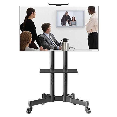 HXCD Soporte de TV móvil - con Carro de TV rodante de Montaje para 32 & ndash;65 LCD LED TV de Pantalla Plana con Ruedas Estantes Carro de TV Ajustable en Altura, Negro