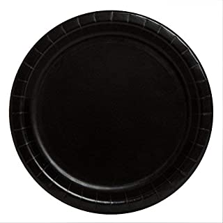 Unique Party - 32044 - Assiettes en Carton Noires de 18 cm, Paquet de 20