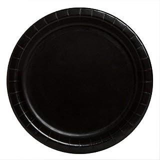 Unique Party - 32044 - Assiettes en Carton Noires de 18 cm, Paquet de 20