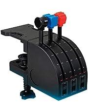 Logitech G Saitek Pro Flight Throttle Quadrant Palancas de Eje de Cuandrante de Aceleración para Simulación de Vuelo, Pantalla LCD, 3 Conmutadores Bidireccionales, Soporte Ajustable, USB, PC - Negro
