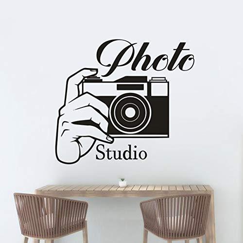 Estudio de fotografía Etiqueta de la pared Cámara fotográfica Tatuajes de pared Estudio fotográfico Decoración Cámara con ventana de mano Murales Etiqueta de otro color 57x51cm