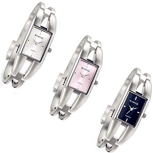 Lancardo 3pcs Damen Armbanduhr, Rechteck Manschette Damenuhr Spangenuhr Armkette Uhr Armreif Analog Quarzuhr,silber schwarz