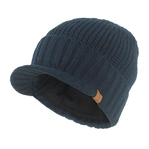 Kuyou Strickmütze mit Schild Herren Winter Visor Beanie Cap (Navy blau)