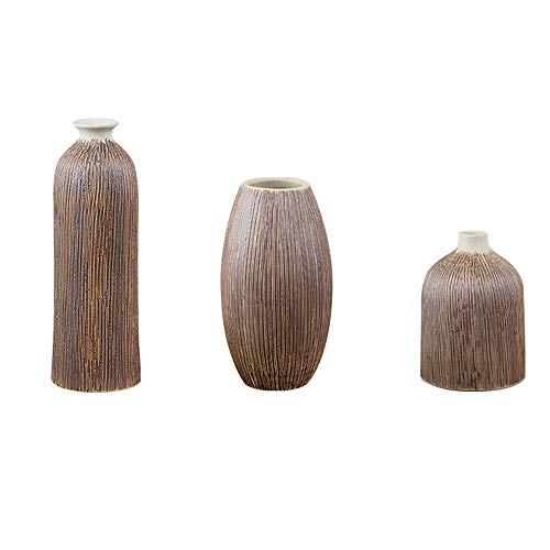 LINGS Decorative Ceramic Vases Set of 3 Piece,Brown Chinese Flower Vases Home Decor,Living Room and Office,Best Gift