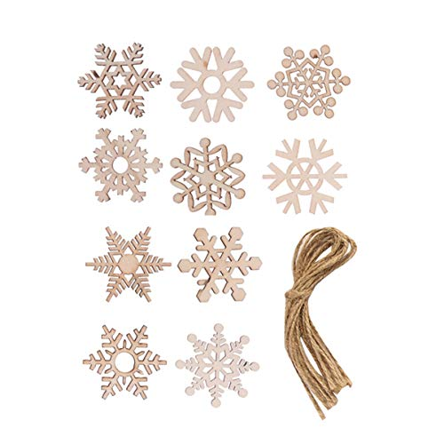 SUPVOX 50pcs Wooden Snowflakes Wooden Christmas Tree Decorations Ornaments Tags Christmas Holiday Party Favors Gifts with Jute Rope