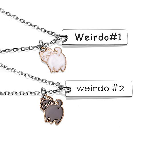 Best Friend Necklaces for 2 BFF Black White Cat Charm Pendant Necklace for...