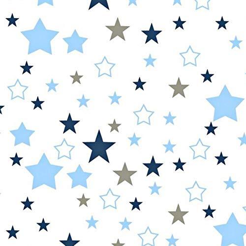Pingianer - Tela de algodón para niños, 100 % algodón, por metros, artesanía, tela de costura, diseño de estrellas, algodón, Blanco, azul y gris., 100x160cm (11,99€/m)