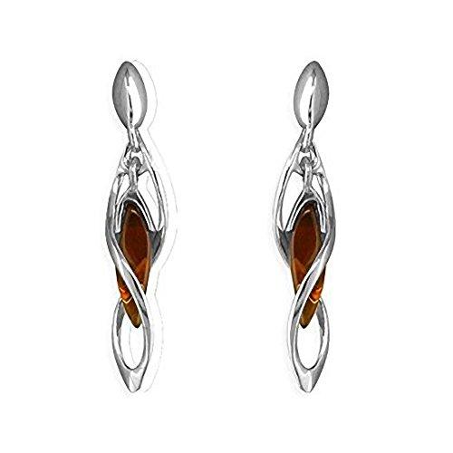 Orecchini in argento Sterling e ambra – stile Art Deco Twisted ambra, a forma di goccia – ambra gioielli