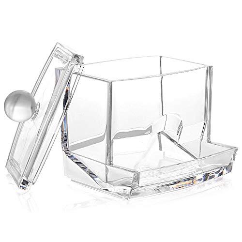 Takestop® - Dispensador de bastoncillos de algodón, de acrílico transparente, de 85x 85x 97