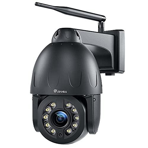 16X Optischer Zoom 5MP Überwachungskamera Aussen WLAN, Ctronics PTZ WiFi IP Kamera Outdoor, 355°/90° Schwenkbar, 60m Farbige Nachtsicht, Personenerkennung, Automatische Verfolgung, 2-Wege-Audio, IP66