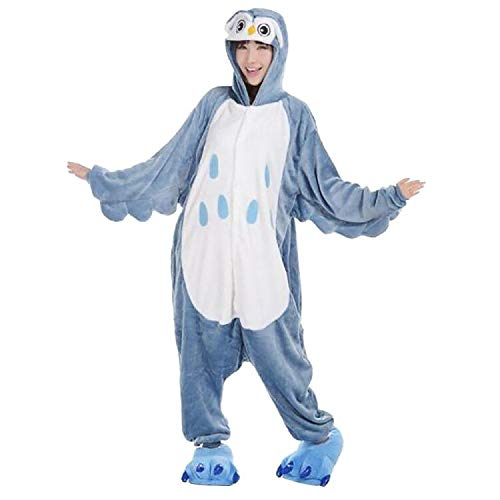 Anbelarui Erwachsene Unisex Eule Onesie Tier Schlafanzug Cosplay Pyjamas Halloween Karneval Kostüm Loungewear (L für Höhe 165-175cm)