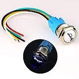 Gebildet 12V-24V 19mm Precablato Momentaneo Corno Pulsante Metallo Interruttore con Blu LED per Auto Moto