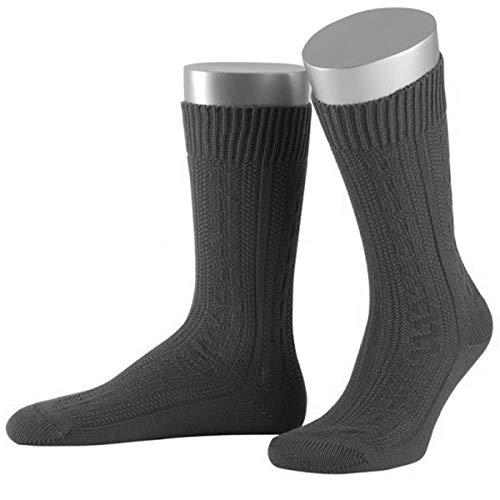 JD Damen Trachtensocken Trachtenstrümpfe Zopf Socken Kurz, 39-41, Anthrazit