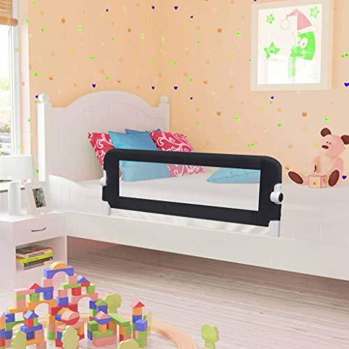 UnfadeMemory Barandilla Plegable de Seguridad para Cama de Niño con Malla Transparente (102x42cm-1 uds, Gris)