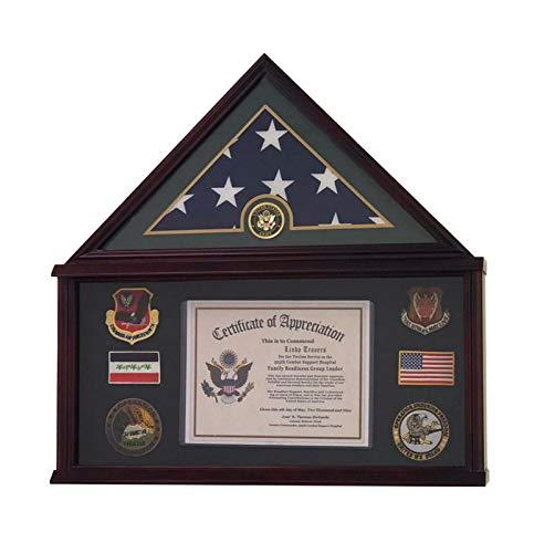 DECOMIL - Große Militär Schatten Box Rahmen Gedenktafel Beerdigungsflagge Vitrine für 5x9 Flagge, Massivholz (Mahagoni) (Armee)