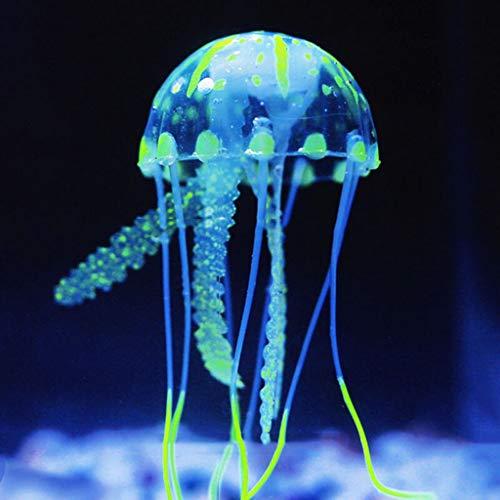 Aquarium Dekoration leuchtende Quallen Ornament Künstliche Quallen, 1 Stück Leuchtende Quallen als Dekoration Glühende Deko aus Silikon für Aquarium Fisch Tank Ornament (grün)
