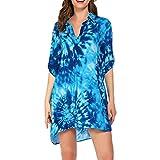 Loalirando Abito da Spiaggia Donna Copricostume Donna Mare Copri Bikini Donna Camicia Abito Donna Cover up Stampa Leopardata Elegante (Blu, XXXL)