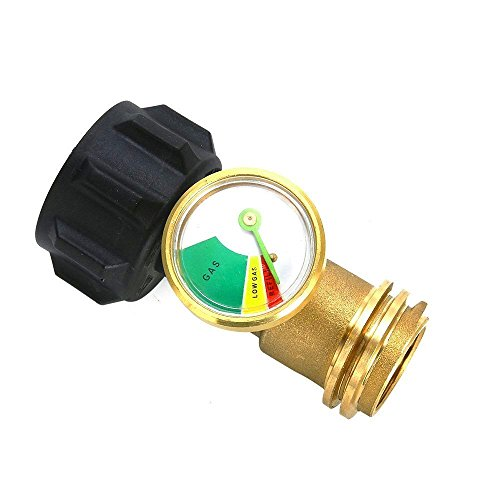 MENSI BBQ Grill Spare Parts Universal Propane Tank Adapter with Gauge/Leak Detector for QCC1/Type1 Propane Tank Cylinders Gas Pressure Meter-100% Solid Brass