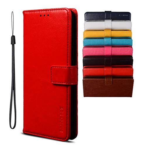 BRAND SET Schutzhülle für TCL Plex/T780H Handyhülle Brieftasche Kunstleder mit Magnetverschlussverriegelung & Stent-Funktion Geeignet Flip Handyhülle für TCL Plex/T780H(Rot)