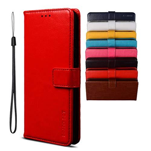 BRAND SET Flip Cover per iPhone 13 Mini 5,4', Custodia Pelle PU Magnetica Libro [Funzione Stand] [Slot Cart] Antiurto Custodia Portafoglio Per iPhone 13 Mini 5,4'-Rosso
