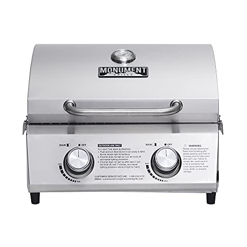 Monument Grills 13742 19inch Tabletop Portable Propane Gas Grill with Travel Locks, Stainless Steel...