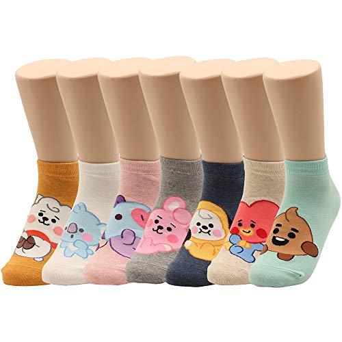 Women Socks Kpop BTS Cartoon Character Ankle Socks 7 Pack Women Size 6 - 8.5 (7pairs)