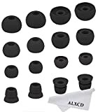 ALXCD Ear Tips for Powerbeats 2 Wireless Headphone, SML 3 Sizes 6 Pair Silicone Replacement Earbud Tips & 2 Pair Double Flange Ear Tip Cushion, Fit for Beats Powerbeats2 Wireless [8 Pair](Black)