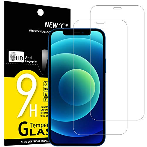 NEW'C 2 Pezzi, Vetro Temperato Compatibile con iPhone 12 et iPhone 12 Pro (6.1'), Pellicola Prottetiva Anti Graffio, Anti-Impronte, Durezza 9H, 0,33mm Ultra Trasparente, Ultra Resistente